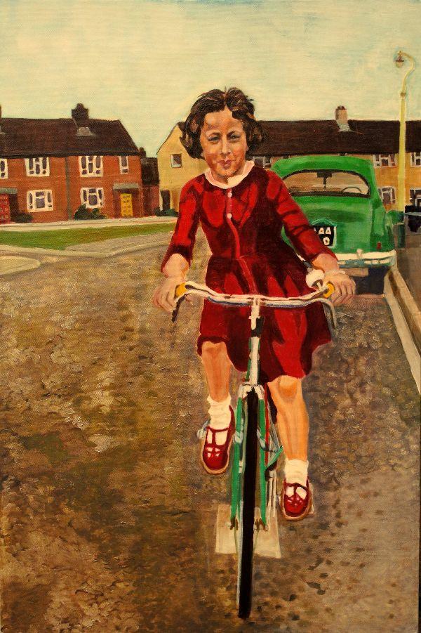 My first bike ride oil portrait by Stella Tooth