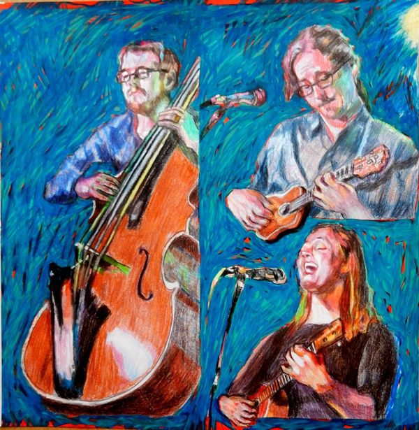 Musicians Daniel Ward and Heidi Swedberg portrait drawing by Stella Tooth