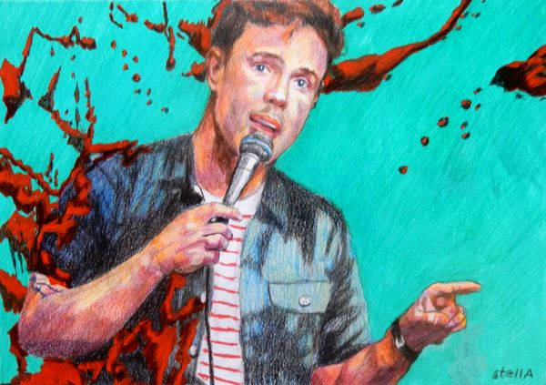 Comedian Ed Gamble at the Half Moon Putney portrait drawing by Stella Tooth