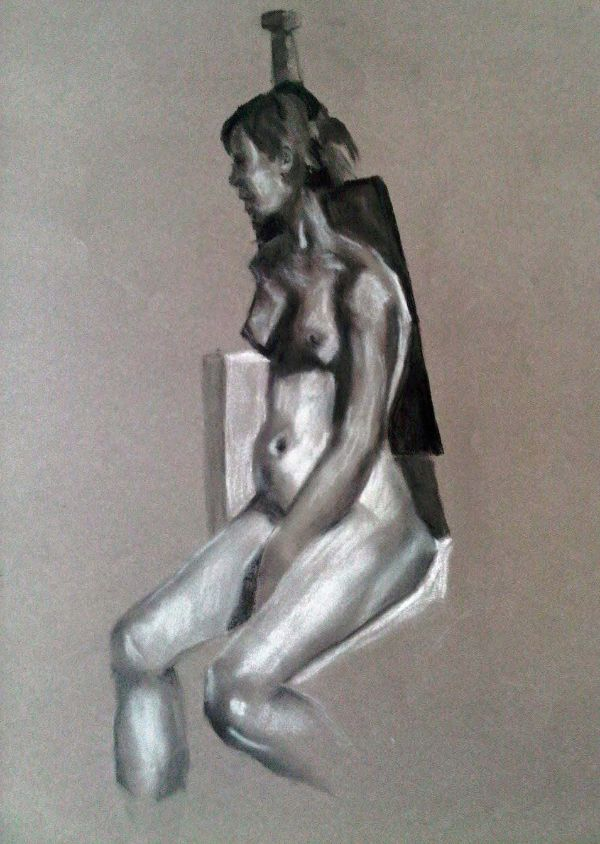 Female nude chalk charcoal drawing