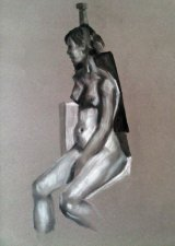 Female nude chalk charcoal