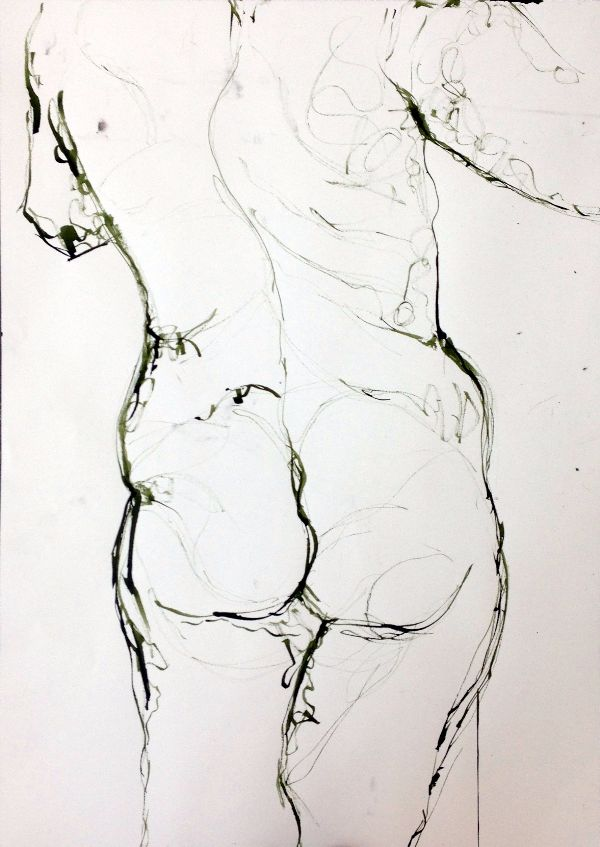 Life drawing female rear view