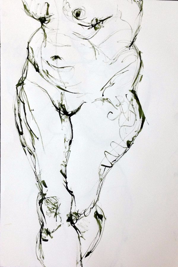 Life drawing female torso and legs