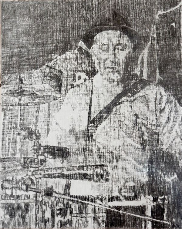 Musician Jah Wobble and the invaders of the heart at the Half Moon Putney portrait drawing by Stella Tooth