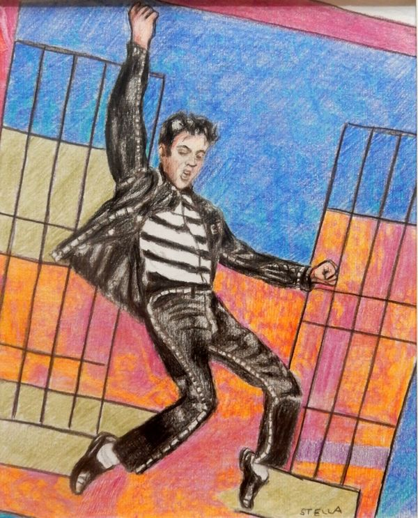 Portrait art representational art figurative art Jailhouse Rock Elvis by Stella Tooth