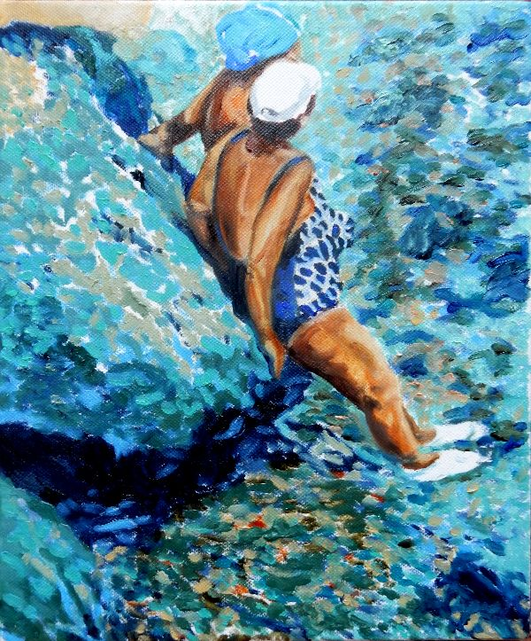 Just chilling - Ischia oils 28x33x3.5cms