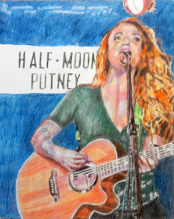 Musician Kezia Gill at Half Moon Putney portrait drawing by Stella Tooth
