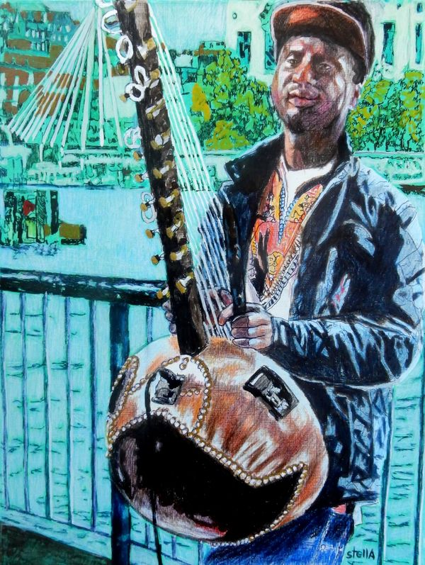 Kora player South Bank portrait drawing by Stella Tooth