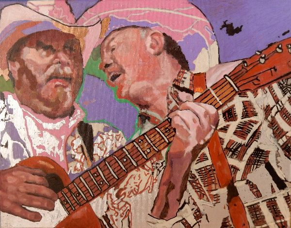 Los Pacaminos with Paul Young oils50x39x1.5cms