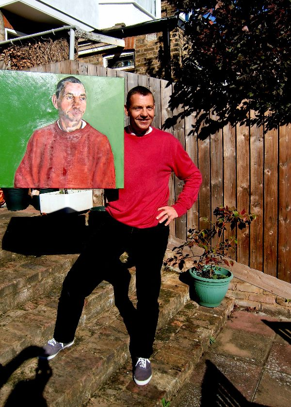 Martin Le Jeune with commissioned oil portrait by Stella Tooth