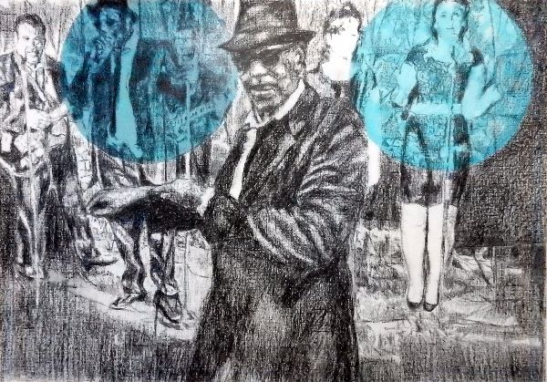 Shotgun Blues - The Rawhides musicians portrait drawing by Stella Tooth
