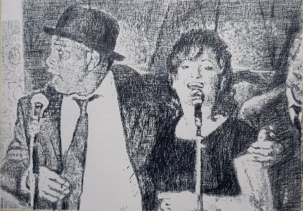Do you love me? The Rawhides musicians portrait drawing by Stella Tooth