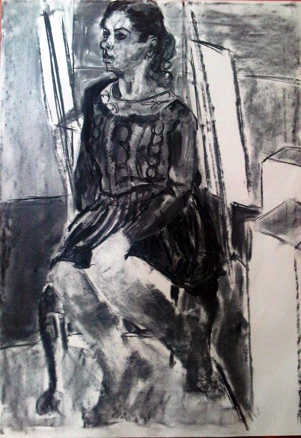 Natasha - seated study by Stella Tooth FIGURATIVE ART REPRESENTATIONAL ART