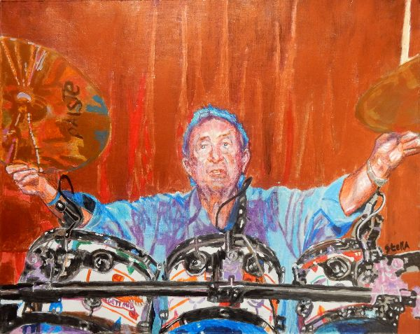 Nick Mason musician portrait drawing at the Half Moon Putney by Stella Tooth