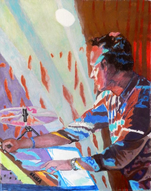 Musician Nick Mason's Saucerful of secrets' Dom Beken at the Half Moon Putney portrait drawing by Stella Tooth