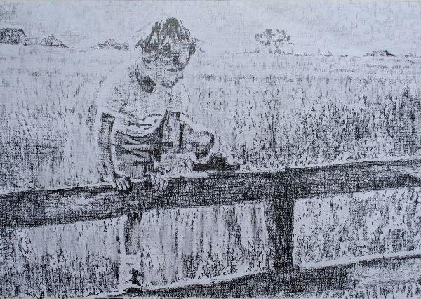 A Shropshire lad portrait drawing by Stella Tooth