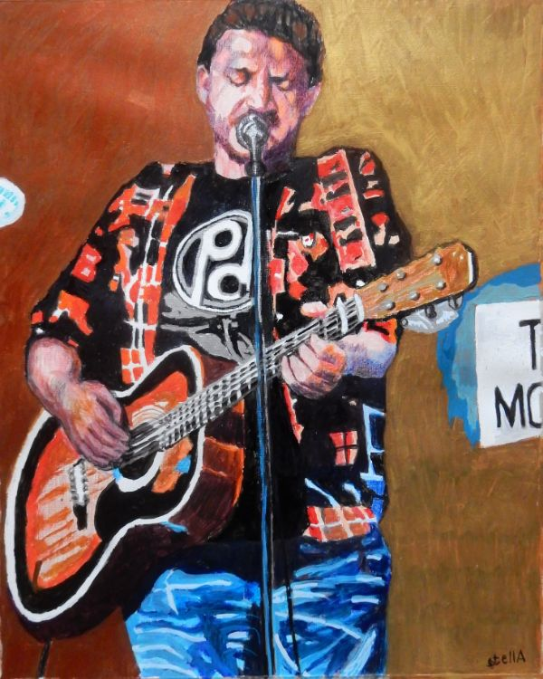 Musician Peter Donegan at the Half Moon Putney portrait drawing by Stella Tooth