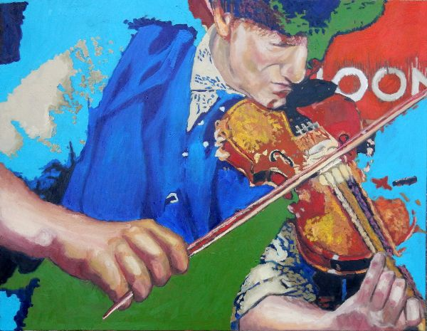 Police Dog Hogan's Eddie Bishop on violin oils 91x71x1.5cms