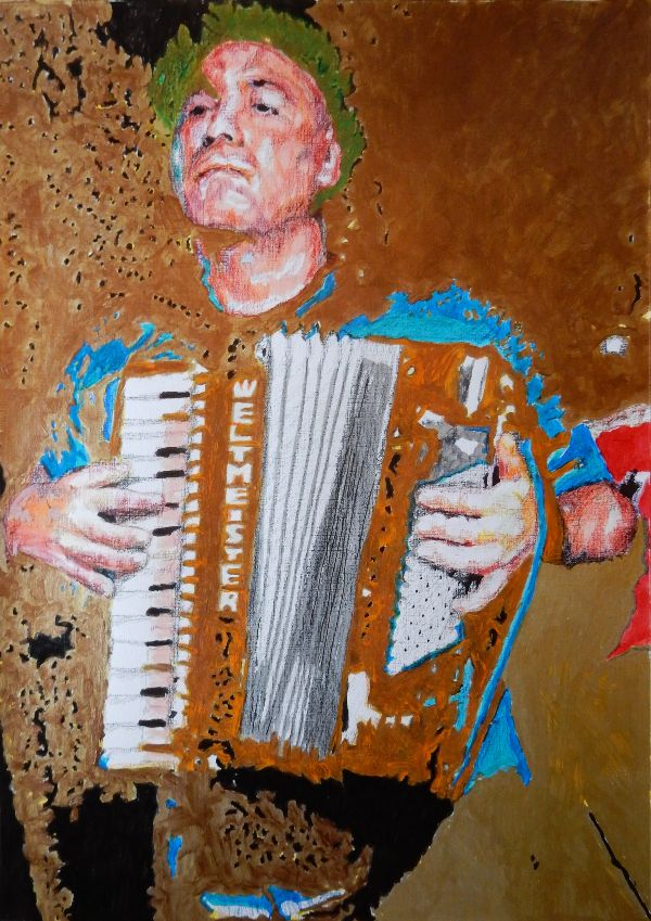 Police Dog Hogan's Shahen Galichian on accordion drawing