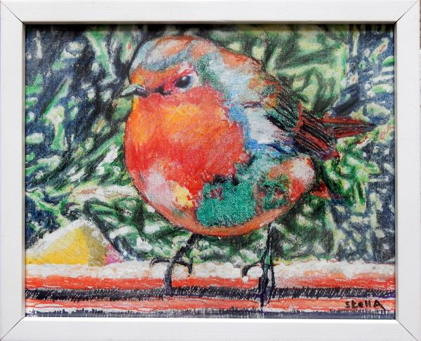 Robin Redbreast £50 canvas board framed