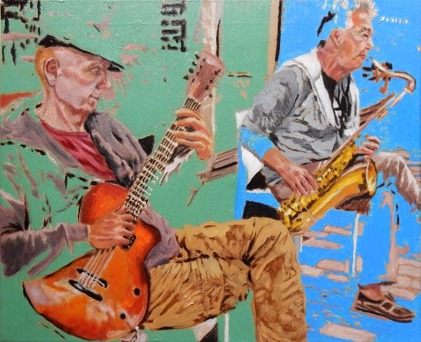 Roy Gee and Matt Wall Brighton Buskers oils 54x64x2cms