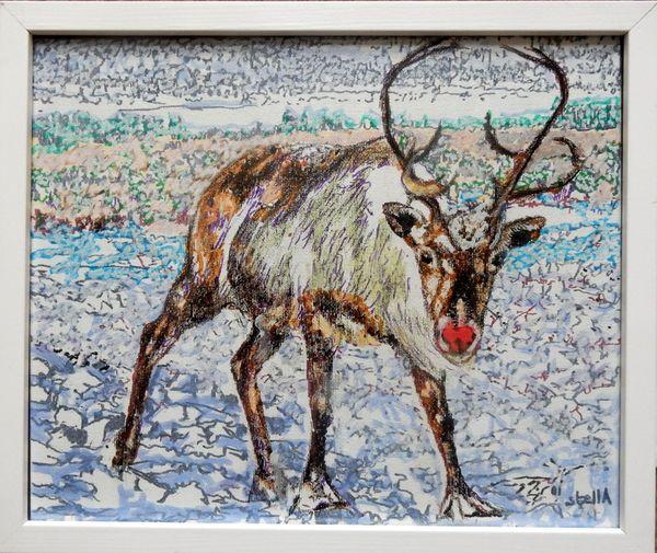 Rudolph- £50 canvas board framed