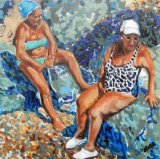 Soaking up the rays in Ischia oils 30x30x3.5cms