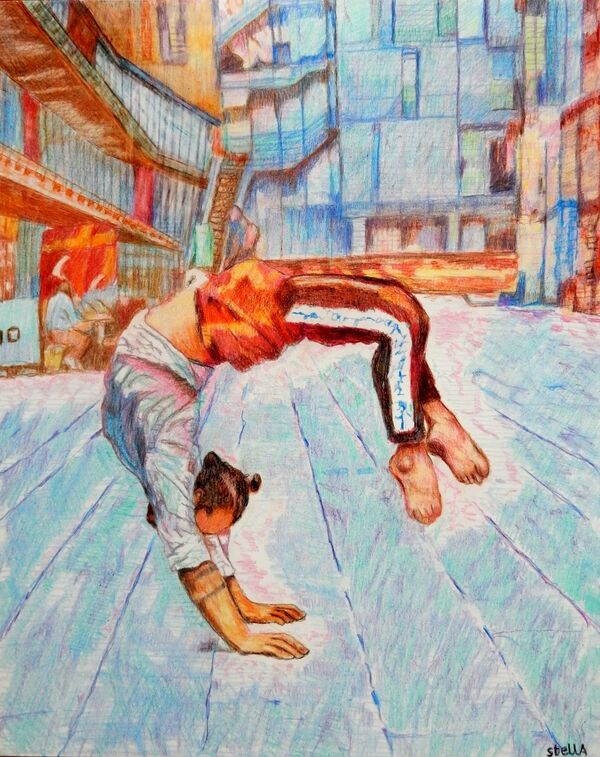 Southbank acrobat Manuele d'Aquino portrait drawing by Stella Tooth