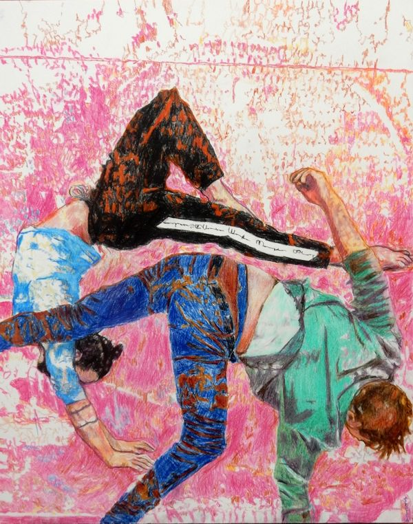 Southbank acrobats aerial ballet portrait drawing by Stella Tooth