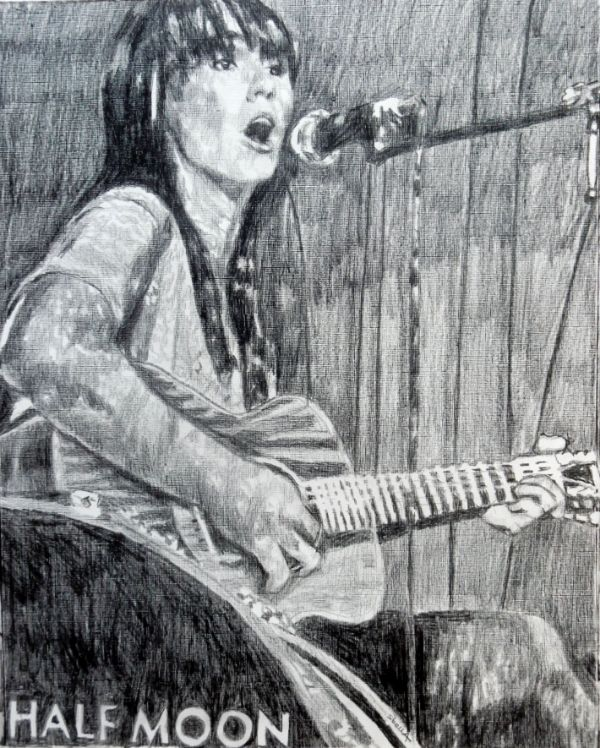 Musician Anna Wolf at the Half Moon Putney portrait drawing by Stella Tooth