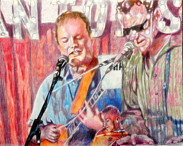 Musicians The Phantoms at the Half Moon Putney portrait drawing by Stella Tooth