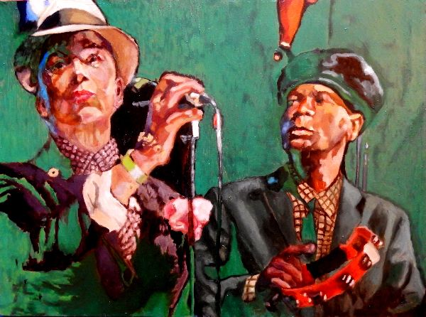 The Selecter - Pauline Black & Arthur Gaps Hendrickson oil portrait by Stella Tooth