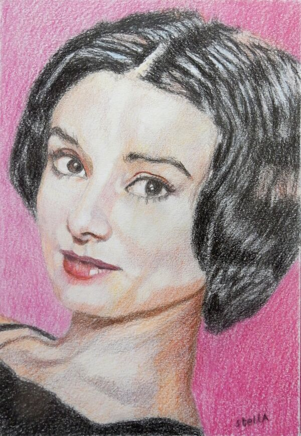 Audrey Hepburn portrait drawing by Stella Tooth