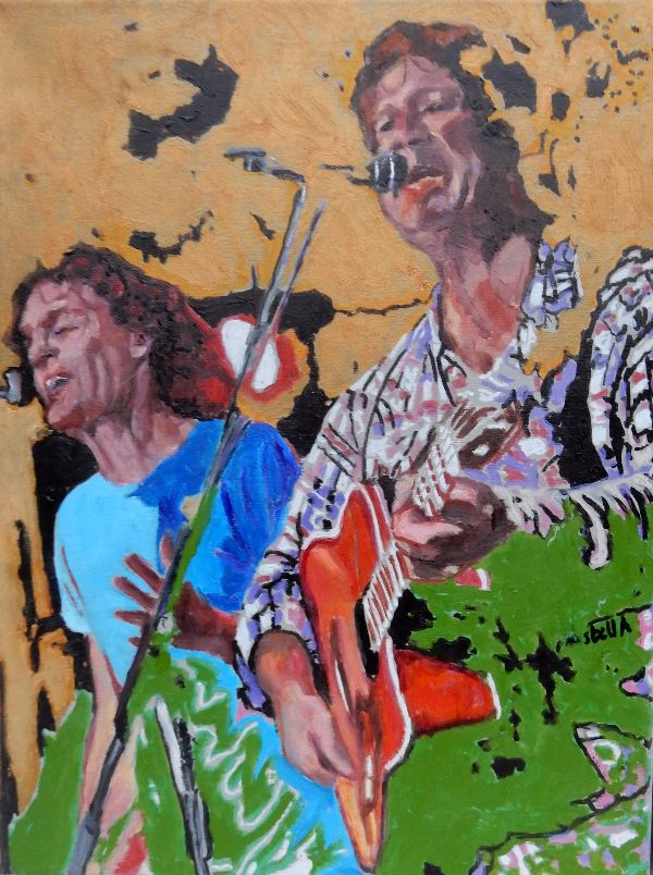 Musicians The fabulous electric Zimmermen at the Half Moon Putney oil portrait by Stella Tooth