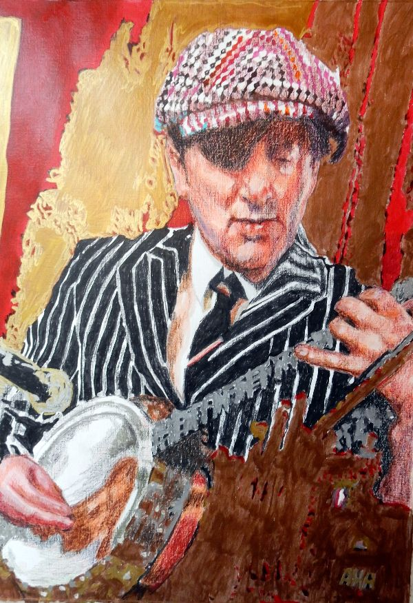 Musician Bob Kerr's Whoopee Band Thomas 'Spats' Langham at the Half Moon Putney portrait drawing by Stella Tooth