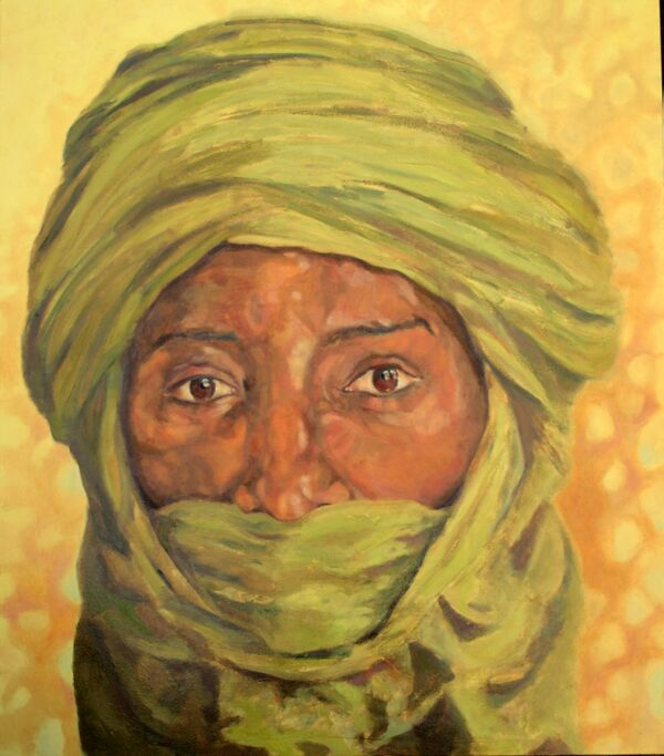 Tuareg from Timbuktu Sahara in oils by Stella Tooth in public collection in Egypt