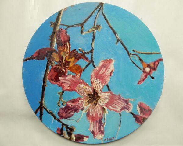 Lillies under corona skies by Stella Tooth Floral Art Representational Art Figurative art