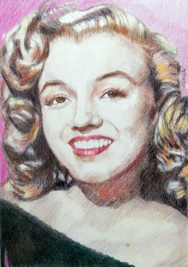 """Young Marilyn """"Keep smiling because life is such a beautiful thing."""" 42.5x32.5cm framed"""
