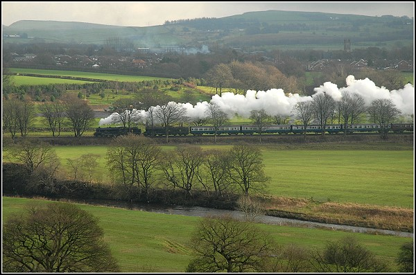 Steaming across the countryside.