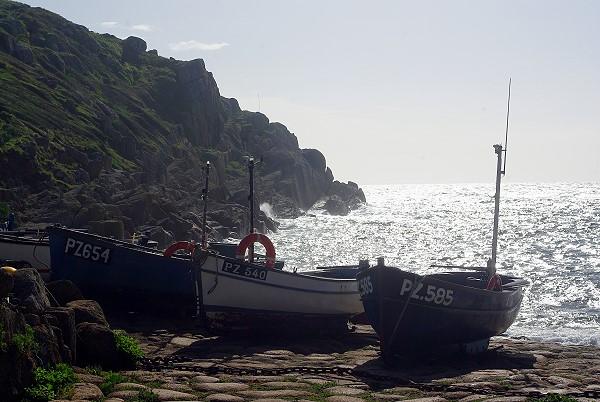Boats moored at Penberth Cove