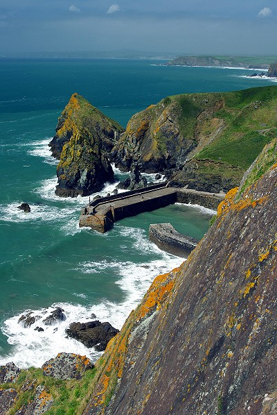 Mullion Cove from the clifftop coastal path.