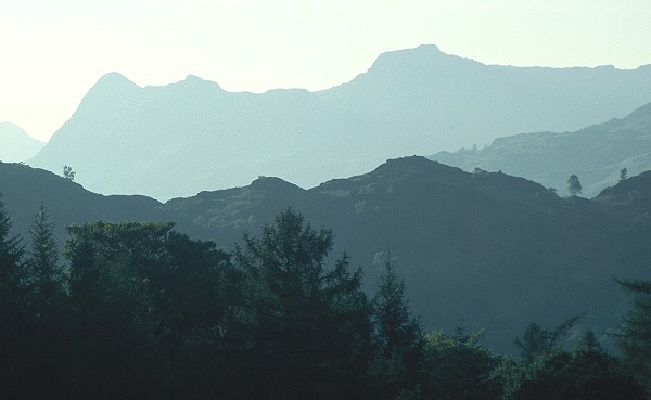 View towards the Langdale Pikes