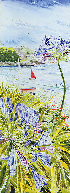 "Greetings Card ""Red Sail and Agapanthus"""