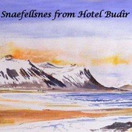 Snæfellsnes from Hotel Budir Iceland (ink painting)
