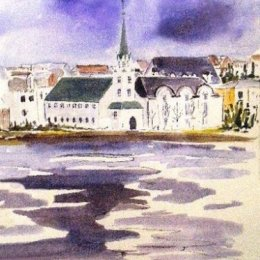 Reykjavik accross Tjörnin (The Pond) Iceland (ink painting)