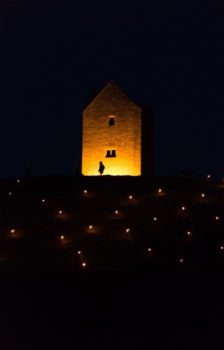 Somerset, England: Bruton – 'Spiral of Light' Festival 4 - with silhouette