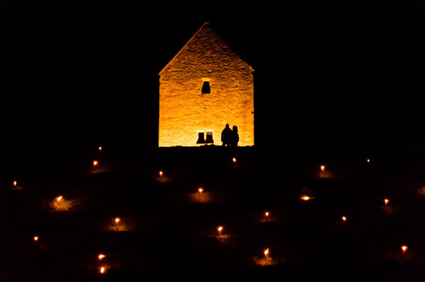 Somerset, England: Bruton – 'Spiral of Light' Festival 5 - paired silhouettes