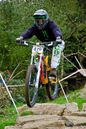 Cyclist at MTB Downhill Bike Event, Marple, Cheshire 10