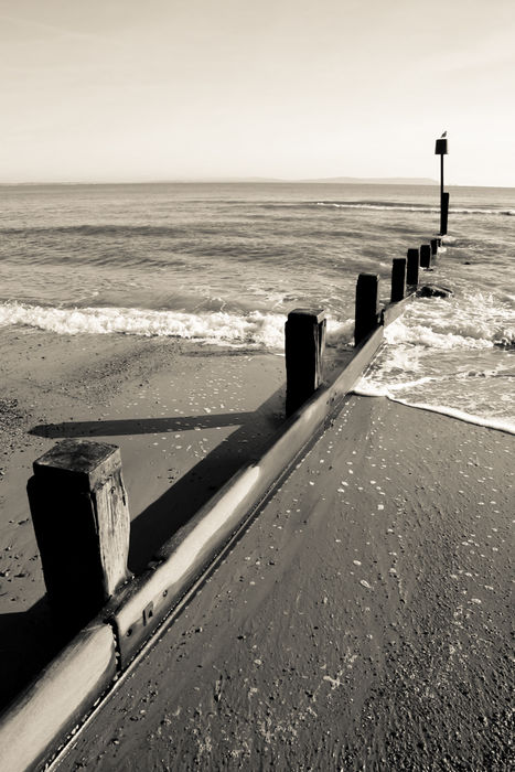 Sea Groyne, Mudeford - monochrome