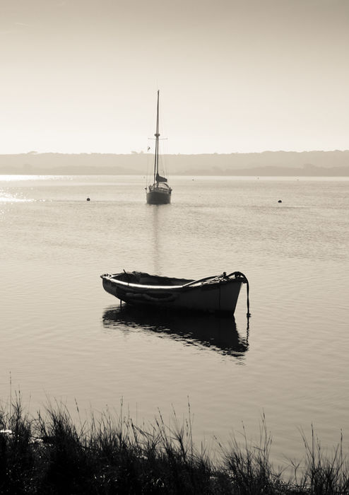 Boats at Stanpit - monochrome, portrait format